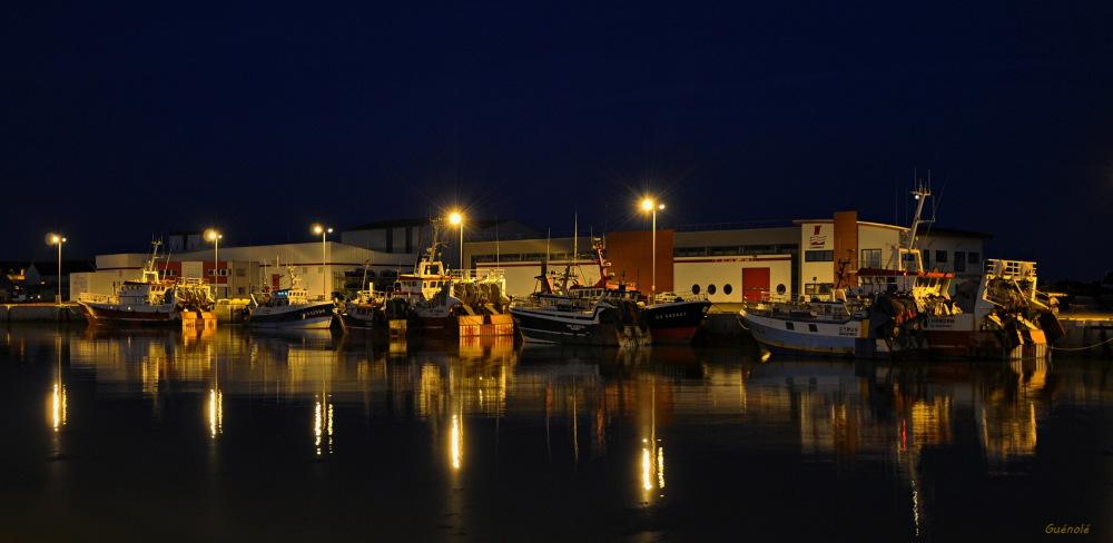 C'est beau un port la nuit.
