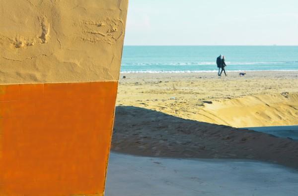 composizione ombre geometria spiaggia mare cielo