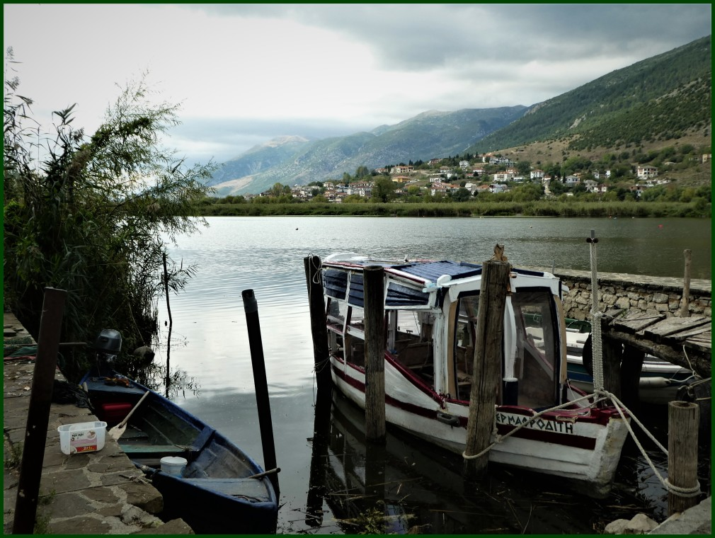 Lonely boat on Ioannina lake