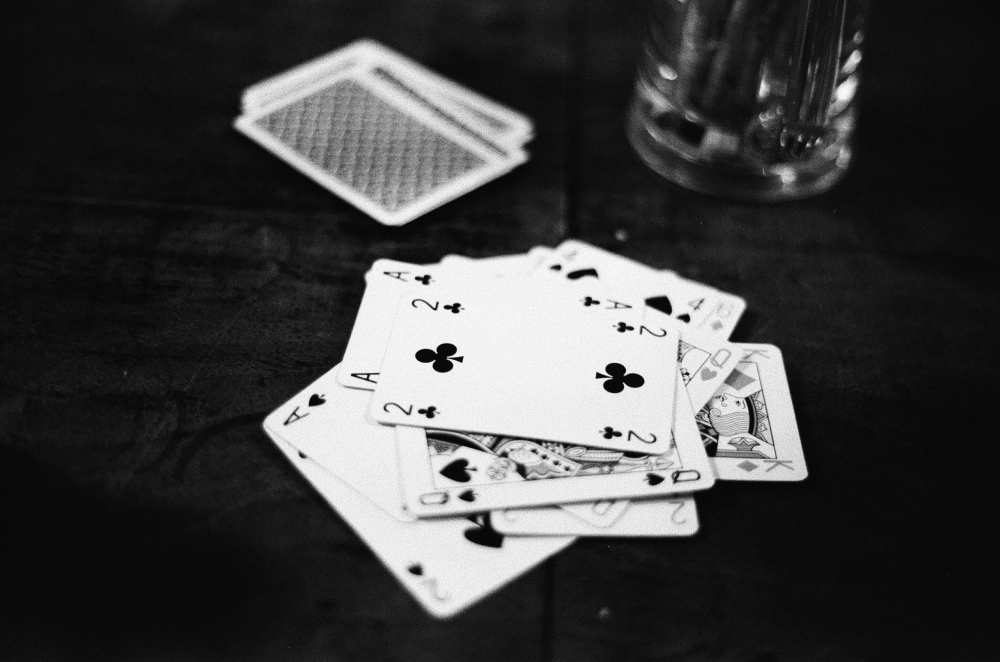 Playing cards in a pub
